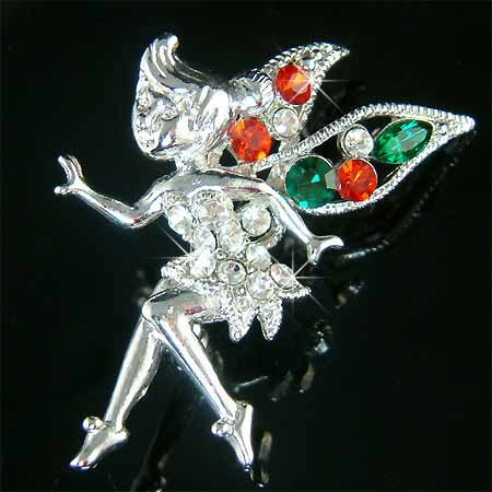 Christmas Gift! Tinkerbell Fairy Wing Swarovski Crystal Brooch