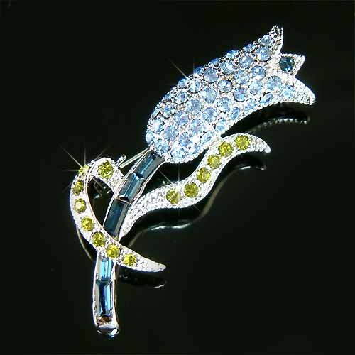 Blue Tulip Swarovski Crystal Brooch