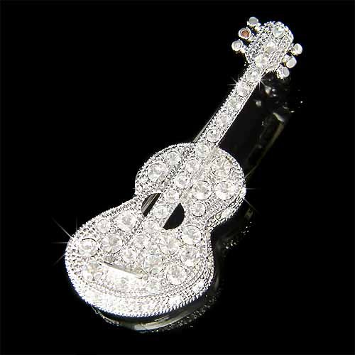 Acoustic Guitar Swarovski Crystal Brooch for Folk Music Lover