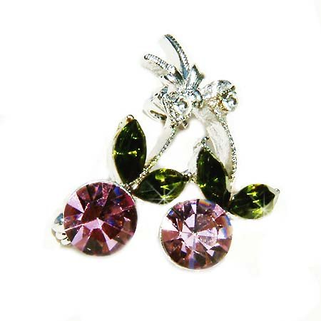 Juicy Purple Cherry Swarovski Crystal Brooch