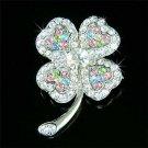 Pastel St Patrick's Day Clover Swarovski Crystal Brooch
