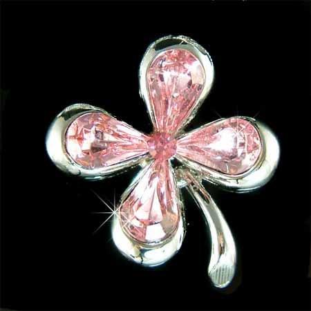 Pink Four-Leaf Lucky Clover Flower Swarovski Crystal Brooch