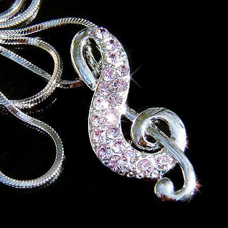 Purple Treble G Clef Swarovski Crystal Necklace