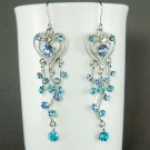 Something Blue Long Heart Vine Bridal Swarovski Crystal Earrings