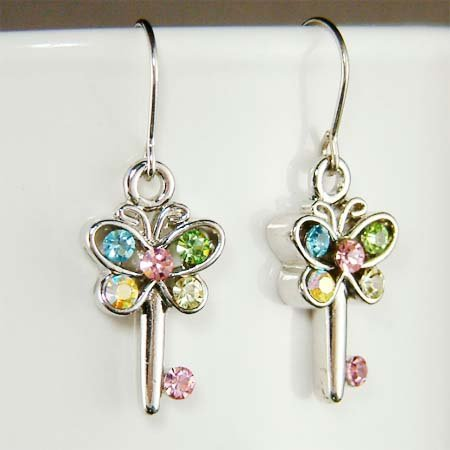 Unique Pastel Butterfly Key Swarovski Crystal Earrings