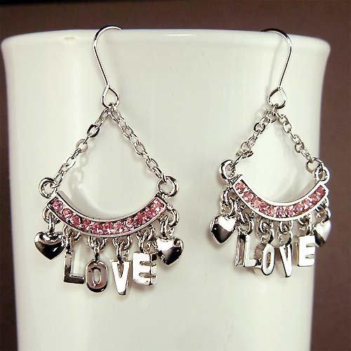 Swarovski Crystal Pink LOVE Letter Heart Modern Dangle Earrings