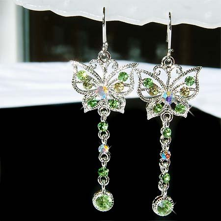 Green Bridal Butterfly Swarovski Crystal Earrings