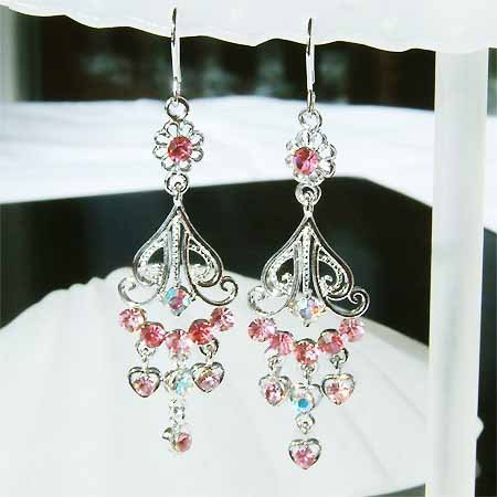 Pink Swarovski Crystal Earrings for Bridesmaid or Flower Girl