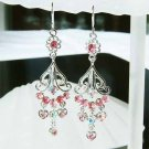 Pink Swarovski Crystal Earrings for Bridesmaid or Flower Girl