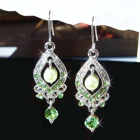 Green Bridal Swarovski Crystal and Swarovski Pearl Earrings