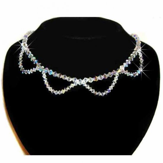 New Swarovski AB Crystal Bridal Wedding Sterling Silver Necklace