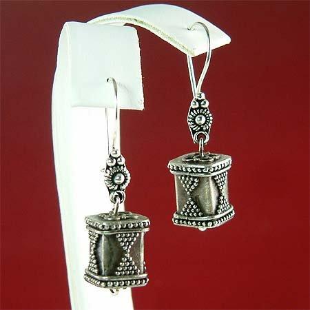 Antique Italian Ornate Sterling Silver pendant Earrings