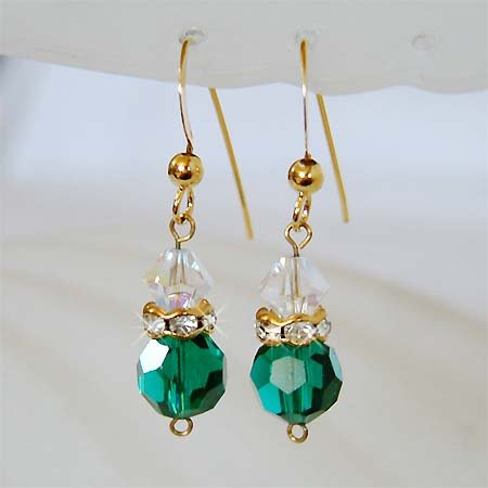 Peacock Green Swarovski Crystal 22K Gold Vermeil Earrings