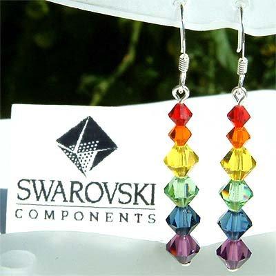 Swarovski Rainbow Chakra Crystal Sterling Silver Earrings