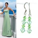 Light Green Bridal Swarovski Crystal Sterling Silver Earrings