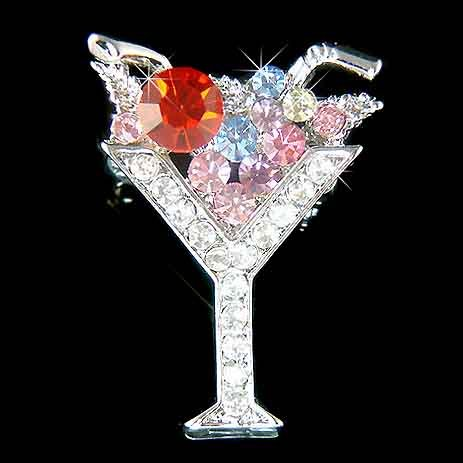 Martini Wine Glass Swarovski Crystal Brooch for Party