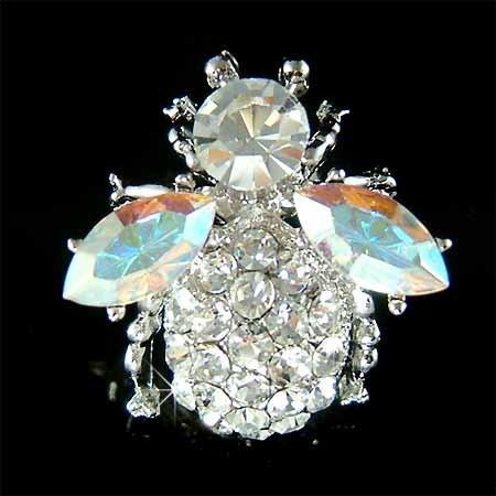 Bumble Bee Beetle Aurora Borealis Swarovski Crystal Brooch
