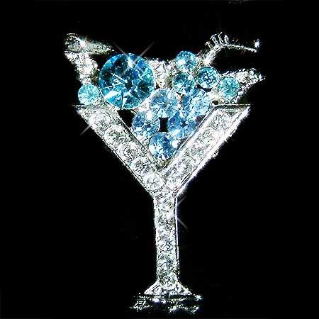 Ice Blue Martini Wine Glass with Cherry Swarovski Crystal Brooch