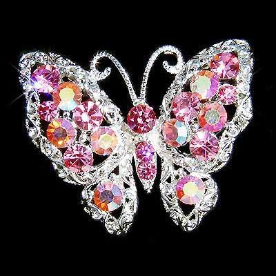 Pink Bridal Butterfly Swarovski Crystal Brooch