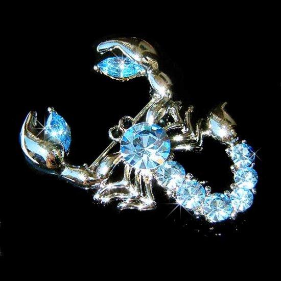 Blue Swarovski Crystal Scorpion King Brooch