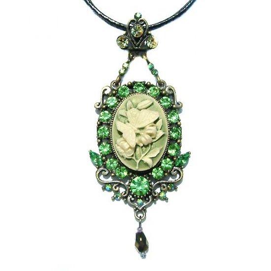 Swarovski Crystal Classy Green Cameo Flower Necklace