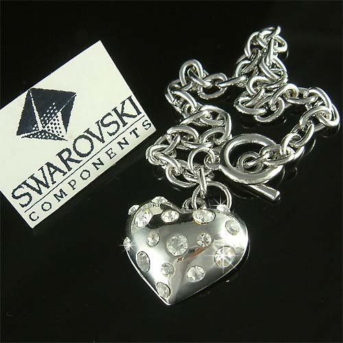 Clear Bridal Puffed Heart Swarovski Crystal Toggle Bracelet