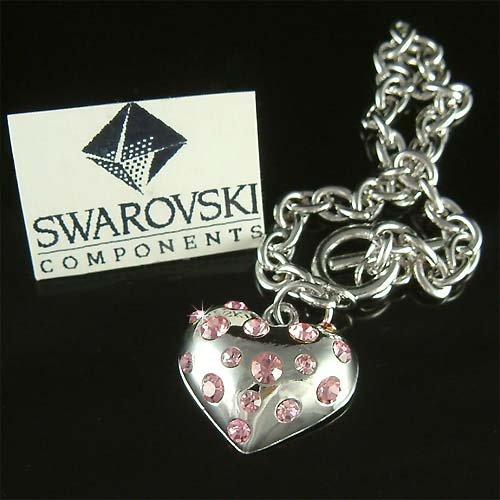 Pink Bridal Puffed Heart Swarovski Crystal Toggle Bracelet