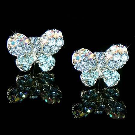Something Blue Bridal Butterfly Swarovski Crystal Stud Earrings