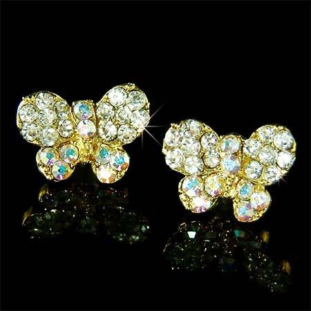 Clear Bridal Butterfly Swarovski Crystal Gold Stud Earrings