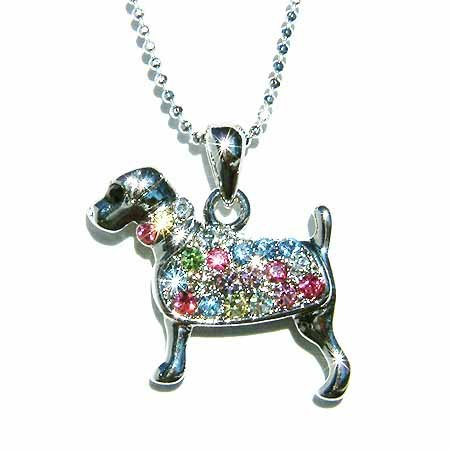 Rainbow Swarovski Crystal Rottweiler Dog Pendant Chain Necklace