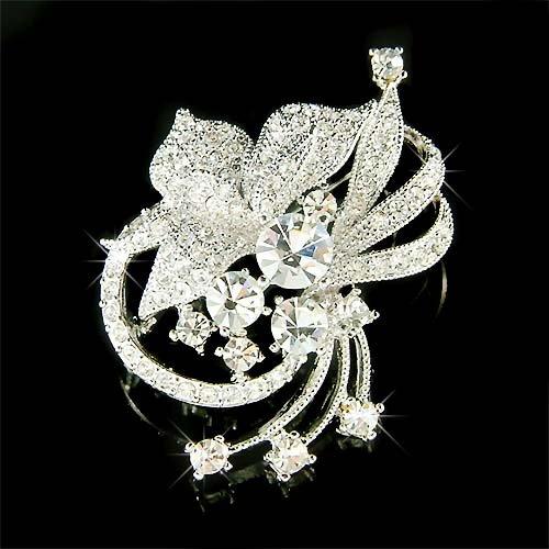 Swarovski Crystal Clear Cutout Flower Brooch