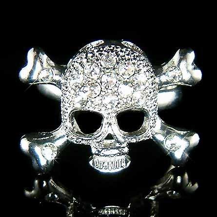 Clear Swarovski Crystal Skull Crossbone Hip Hop Ring