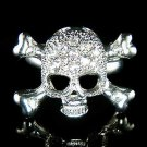 Clear Swarovski Crystal Skull Crossbone Hip Hop Ring