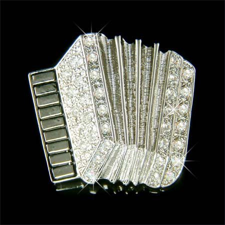Traditional Classy Accordion Swarovski Crystal Brooch