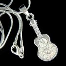 Accoustic Guitar Swarovski Crystal Necklace for Folk Music Lover