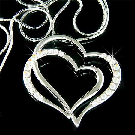 Double Clear Cutout Heart Swarovski Crystal Necklace