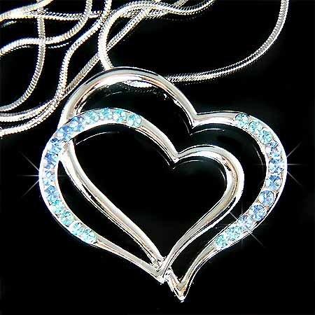 Double Baby Blue Cutout Heart Swarovski Crystal Necklace