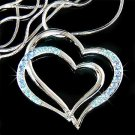 Double Baby Blue Cutout Heart Swarovski Crystal Necklace