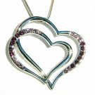 Double Purple Cutout Heart Swarovski Crystal Necklace