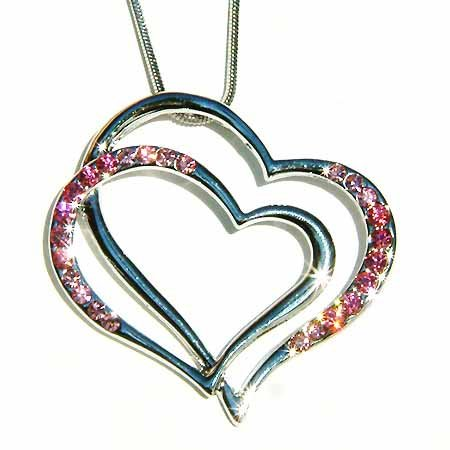Double Pink Rose Cutout Heart Swarovski Crystal Necklace