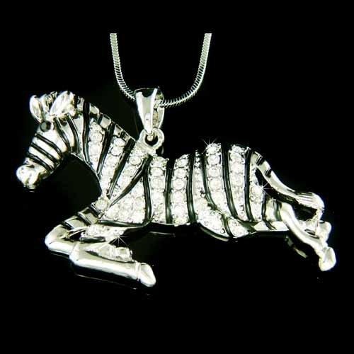 Black & White Striped Zebra Safari Swarovski Crystal Necklace