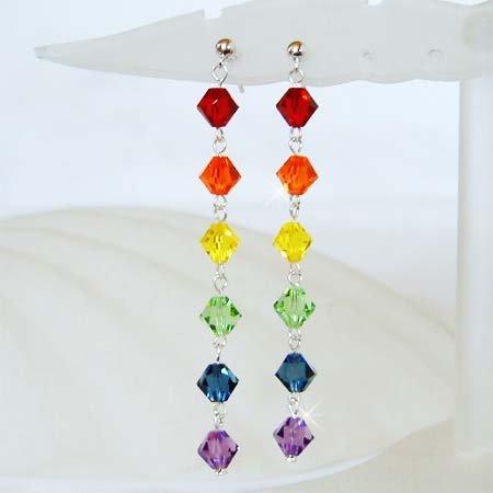 Swarovski Rainbow Chakra Crystal Sterling Silver Stud Earrings