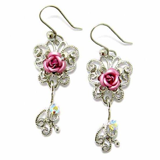 Pink Rose Flower Butterfly Swarovski Crystal Bridesmaid Earrings