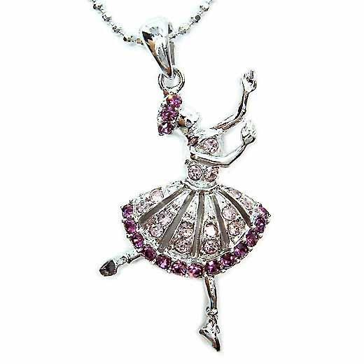 Purple Ballerina / Ballet Dancer Swarovski Crystal Necklace
