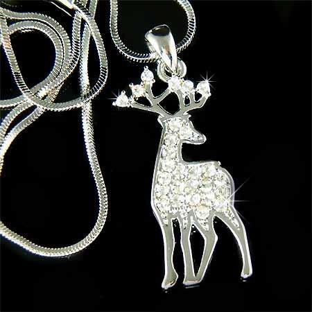 Bull Elk Big Antlers Crystal Necklace for Hunter / Hunting Fans