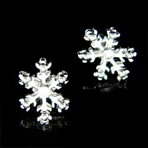 Christmas Silver Snowflake Swarovski Crystal Stud Earrings