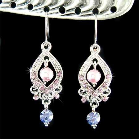 Bridal Wedding Purple Swarovski Crystal and Pearl Earrings