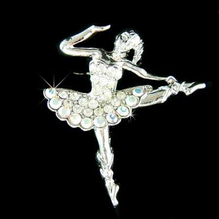 Clear Ballerina / Ballet Dancer Swarovski Crystal Brooch
