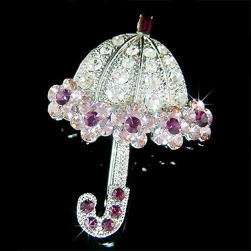 Swarovski Crystal Fairy Purple Umbrella Brooch