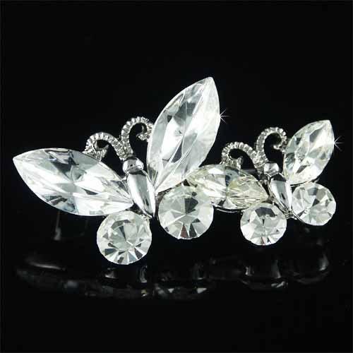 Butterfly Sisters Clear Swarovski Crystal Brooch